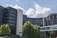 Sikt av Europaparlamentetbyggnaden i Strasbourg Frankrike arkivbilder