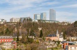 Sikt av europeiska institutionbyggnader - Luxembourg Arkivfoton