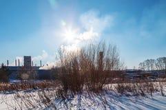 Sikt av fabriken med rök från rörkanten av dagen för skogvintersol arkivbilder