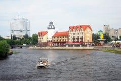 Sikt av fiskbyn, Kaliningrad, Ryssland Royaltyfria Bilder