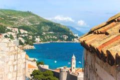 Sikt av fjärden från den Dubrovnik staden Croratia arkivfoton