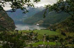 Sikt av Flam, Norge Royaltyfri Bild