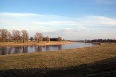 Sikt av floden Elbe i Sachsen royaltyfria foton