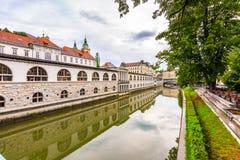 Sikt av floden i den Ljubljana staden Flod i stadsmitt, gammal arkitektur och historisk byggnad i Slovenien huvudstad royaltyfri foto