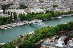 Sikt av floden Seina och Paris Royaltyfri Bild