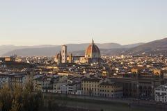 Sikt av Florence, Italien från piazza Michaelangelo Arkivbilder
