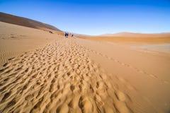 Sikt av folk i de röda dyerna av den Namib öknen, Sossusvlei Arkivfoto