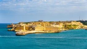 Sikt av fortet Ricasoli nära Valletta Royaltyfria Bilder