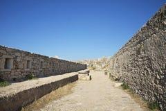 Sikt av Fortezzs fästning. Rethymno. Ö av Kreta Arkivfoton
