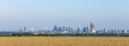Sikt av Frankfurt horisont med fält Arkivfoto
