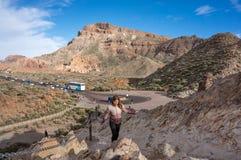 Sikt av fyrkanten på foten av Calderalaen Cañadas royaltyfri fotografi