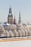 Sikt av gamla Riga, Lettland Arkivfoto