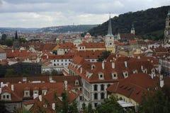 Sikt av gamla tak för röda tegelplattor i den stadsprague Tjeckien härliga Europa Arkivfoto