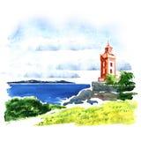 Sikt av gammal byggnad över havet, härlig seascape, vattenfärgillustration Royaltyfri Foto