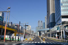 Sikt av gatan i i stadens centrum Kyoto, Japan Arkivfoton
