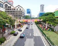 Sikt av gatan i Singapore royaltyfria foton
