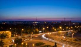 Sikt av gatorna av nattstaden av Vitebsk Fotografering för Bildbyråer