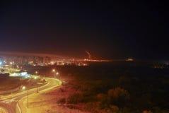 Sikt av Gaza från Israel arkivbild