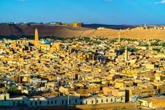 Sikt av Ghardaia, en stad i den Mzab dalen UNESCOvärldsarv i Algeriet Arkivbilder