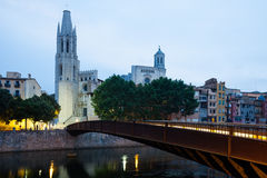 Sikt av Girona i morgon Royaltyfri Foto