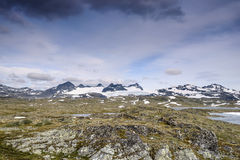 Sikt av glaciären Galdhøpiggen från den ingen vägen 55 jotunheimen den nationella norway parken Royaltyfri Fotografi