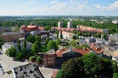 Sikt av Gliwicen i Polen Arkivfoto
