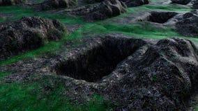 Sikt av grävde och tomma gravar Royaltyfri Bild