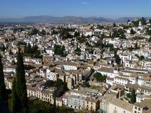 Sikt av Granada från Alhambraen, Granada Royaltyfria Bilder