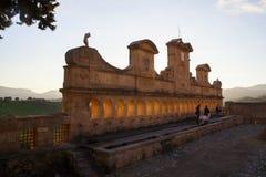 Sikt av Granfonte, barock springbrunn i Leonforte royaltyfri fotografi