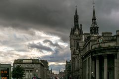 Sikt av granitstaden av Aberdeen i Skottland Royaltyfria Foton