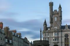 Sikt av granitstaden av Aberdeen i Skottland Royaltyfri Bild