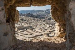 Sikt av gravar på Mountet of Olives, Jerusalem gammal stad, Israel, fotografering för bildbyråer