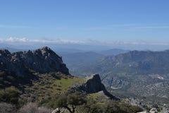Sikt av Grazalema berg, Spanien Arkivfoton