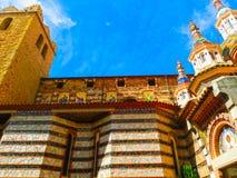 Sikt av härliga kyrkliga Lloret de Mar, Spanien Royaltyfria Foton