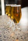 Sikt av halva liter av öl Royaltyfri Bild