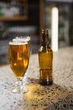 Sikt av halva liter av öl och flaskan Fotografering för Bildbyråer