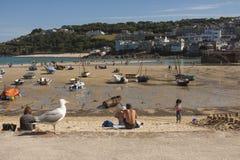 Sikt av hamnen från stranden på St, Ives Cornwall Fotografering för Bildbyråer