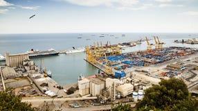 Sikt av hamnen i Barcelona Royaltyfri Foto