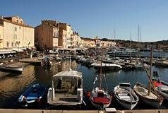 Sikt av hamnen och skeppen St Tropez, Frankrike Arkivbilder