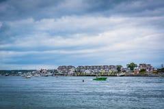 Sikt av Hampton Harbor, i Hampton Beach, New Hampshire Arkivbild