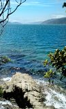 Sikt av havet från nosspåret i Picton, Nya Zeeland arkivbilder