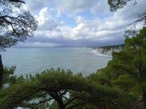 Sikt av havet och klipporna till och med gröna kronor av träd royaltyfri foto