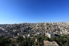 Sikt av Hebron den gamla staden från telefon Rumeida Royaltyfri Fotografi
