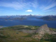 Sikt av Helgelandskysten, Norge Arkivbilder