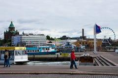 Sikt av Helsingfors den södra hamnen royaltyfri bild