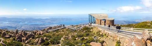 Sikt av Hobart från Kunanyi/monteringsgummistövel Arkivfoto