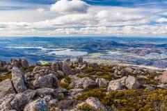 Sikt av Hobart från monteringsgummistöveln, Tasmanien Arkivfoton