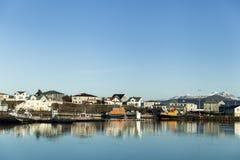 Sikt av Hofn, Island arkivfoto