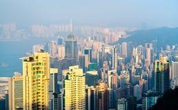 Sikt av Hong Kong Island från det Victoria maximumet arkivfoton