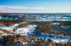 Sikt av horisont av Stockholm, Sverige. arkivbilder